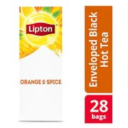 Lipton Black with Orange and Spice Enveloped Hot Tea Bags, 28 count -- 6 per case