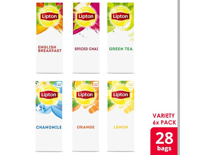 Lipton Black, Green and Herbal Variety Pack Enveloped Hot Tea Bags, 28 count -- 6 per case