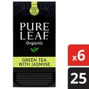 Pure Leaf Organic Green Tea With Jasmine Tea Bags, 25 Tea Bags per box -- 6 Boxes per case