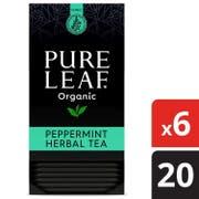 Pure Leaf Organic Peppermint Enveloped Herbal Hot Tea Bags,Caffeine Free, 20 count per pack-- 6 packs per case