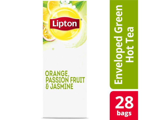 Lipton Green with Orange, Passion Fruit and Jasmine Enveloped Hot Tea Bags, 28 count -- 6 per case