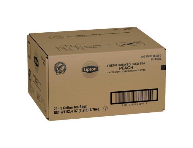 Lipton Peach Iced Tea Bags Black Unsweetened , 3 gallon -- 24 per case