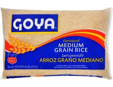 Goya Medium Grain Rice, 20 Pound -- 3 per case.