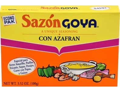 Goya Sazon Azafran - 3.52 oz. box, 18 per case