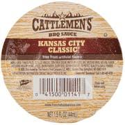 Cattlemens Kansas City Classic Barbeque Sauce, 1.5 Fluid Ounce -- 96 per case