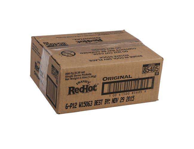 Franks RedHot Original Hot Sauce, 7 Gram Packet -- 200 per case.