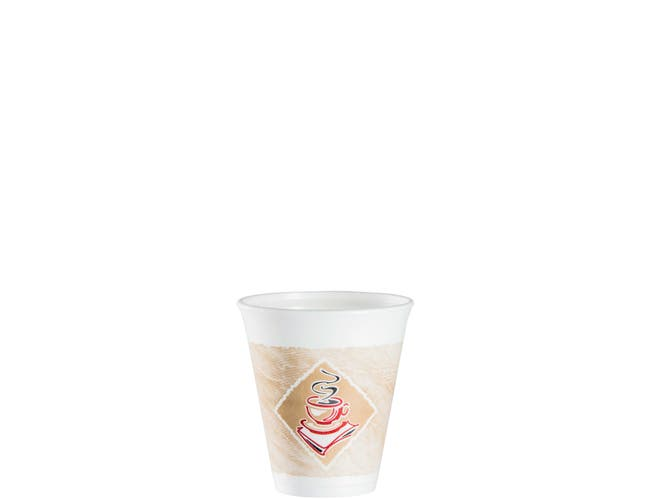 Dart Red Accents Cafe G Stock Printed Foam Cup, 12 Ounce -- 1000 per case.