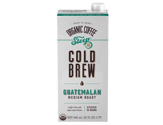 Steep 18 Organic Guatamalan Medium Roast Cold Brew Coffee, 32 Fluid Ounce -- 6 per case.