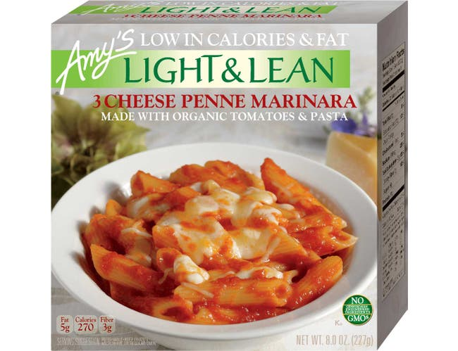 Amys Light and Lean 3 Cheese Penne Marinara Bowl, 8 Ounce -- 12 per case.