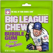 Big League Sour Apple Bubble Chew Gum, 12 per pack -- 9 packs per case.