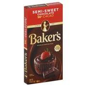 Baker's Premium Semi Sweet Chocolate Baking Bar, 4 Ounce -- 12 per case