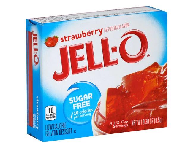Jello Strawberry Sugar Free Gelatin, .3 Ounce -- 24 Case