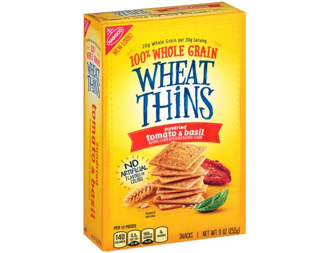 Wheat Thins Sundried Tomato and Basil Cracker, 9 Ounce -- 6 per case.