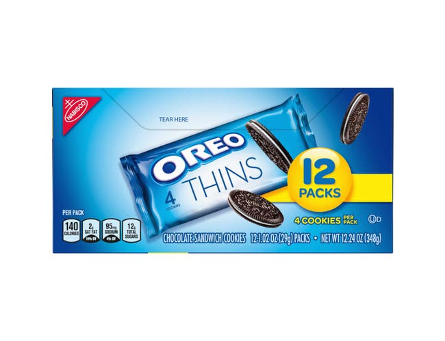 Oreo Thins Sandwich Cookies, 1.02 Ounce -- 48 per case.