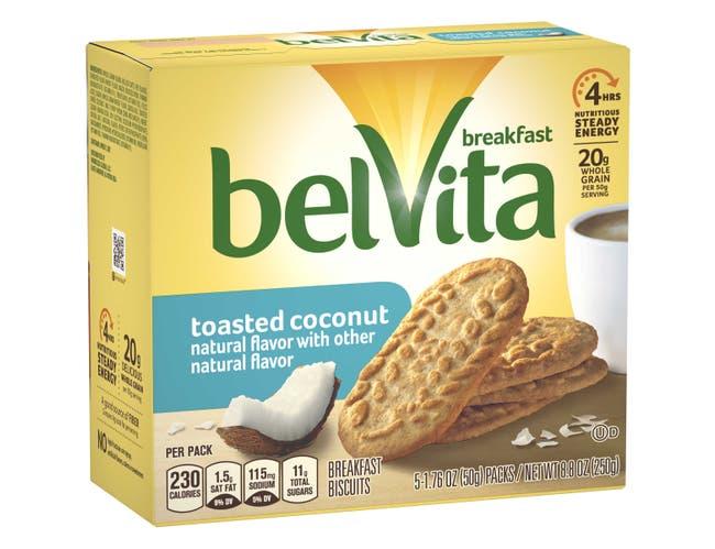 Belvita Breakfast Toasted Coconut Biscuit, 1.76 Ounce -- 30 per case.