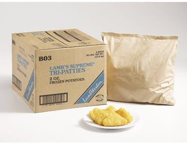 Lamb Weston Supreme Hash Browns and Formed Potato Tri Patty, 2 Ounce -- 6 per case.