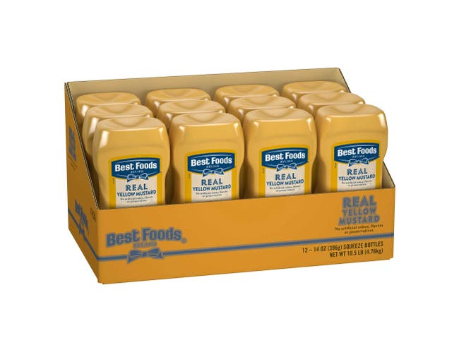 Best Foods Real Yellow Mustard, 14 Ounce Squeeze Bottle -- 12 Per Case