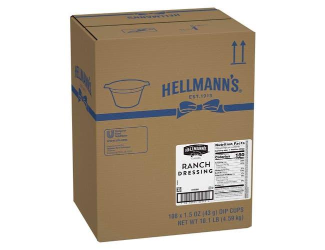 Hellmann's Classics Dip Cups Ranch Dressing 1.5 oz-- 108 per case
