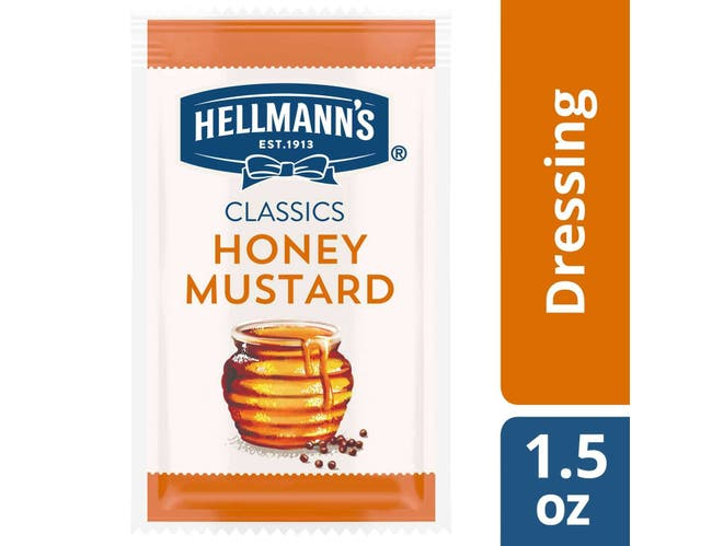 Hellmann's Classics Honey Mustard Salad Dressing Portion Control Pack, 1.5 Ounce -- 102 Per Case