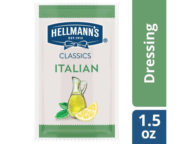 Hellmann's Classics Italian Salad Dressing Portion Control Pack, 1.5 Fluid Ounce -- 102 Per Case