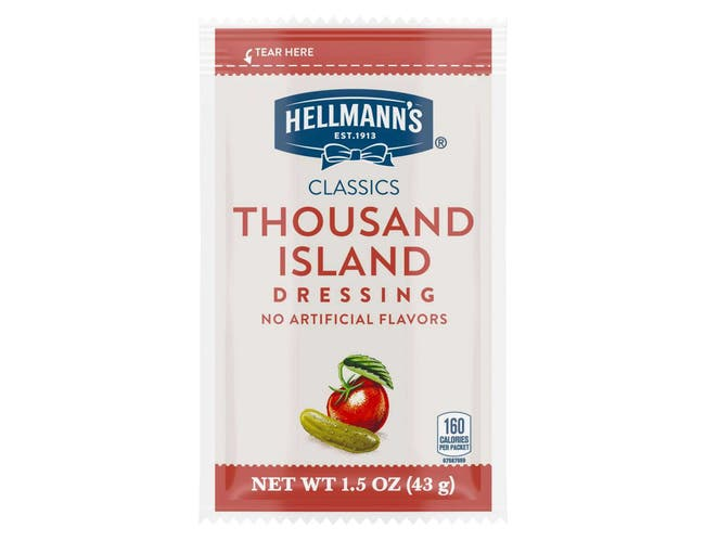 Hellmann's Classics Salad Dressing Portion Control Sachets Thousand Island 1.5 oz -- 102 per case