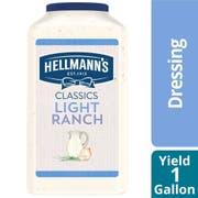 Hellmann's Light Ranch Salad Dressing Jug, 1 gallon -- 4 per case
