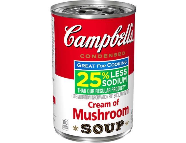 Campbells Low Sodium Cream of Mushroom Condensed Soup, 10.5 Ounce -- 12 per case.