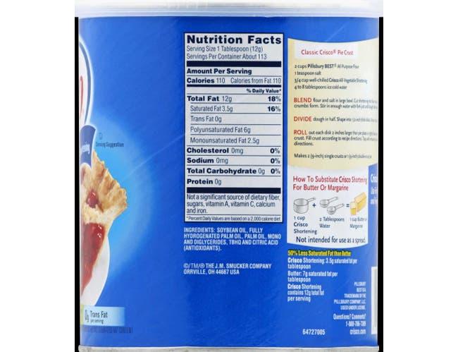 Crisco Regular Shortening, 48 Ounce -- 12 per case.