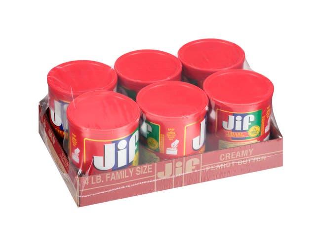 Jif Creamy Peanut Butter, 4 Pound -- 6 per case.