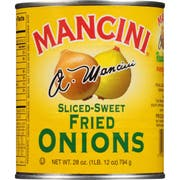 Mancini Sliced-Sweet Fried Onions,  28 Ounce -- 12 per case