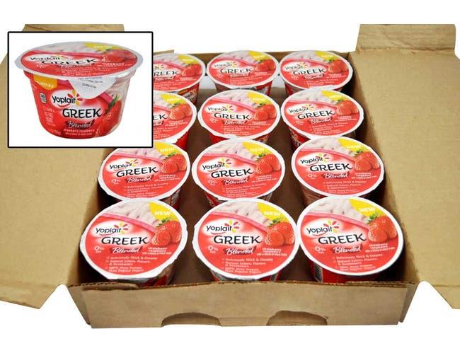 Yoplait Greek Blended Strawberry Raspberry Yogurt, 5.3 Ounce -- 12 per case.