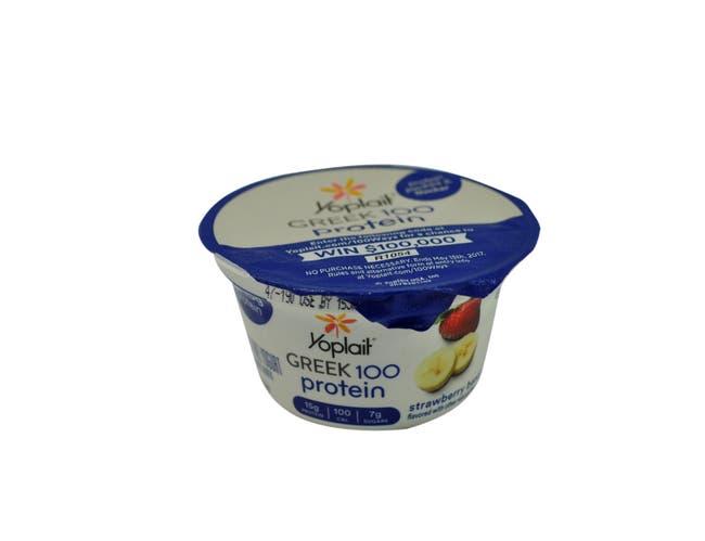 Yoplait Greek 100 Calorie Strawberry Banana Yogurt, 5.3 Ounce -- 12 per case.