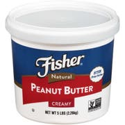 Fisher Natural Creamy Peanut Butter, 80 Ounce -- 3 per case.