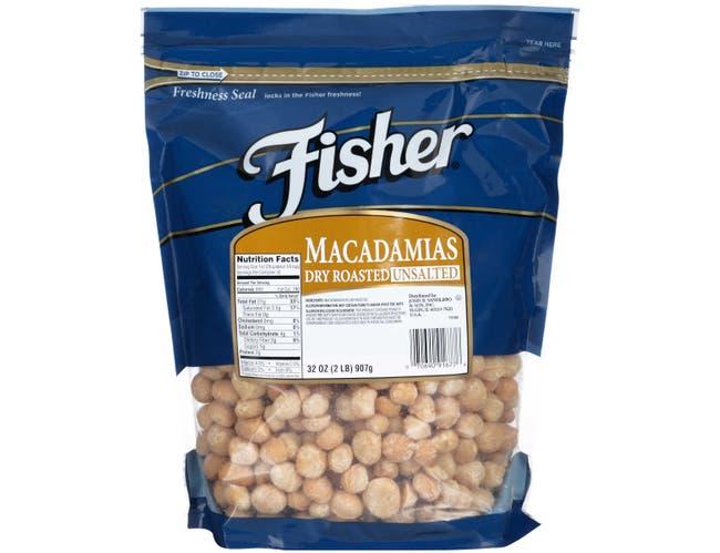 Fisher Dry Roasted Macadamia Nut, 2 Pound -- 3 per case.