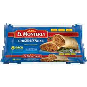 Ruiz Foodservice El Monterey Beef and Bean Chimichanga, 4 Ounce - 8 per pack -- 8 packs per case.