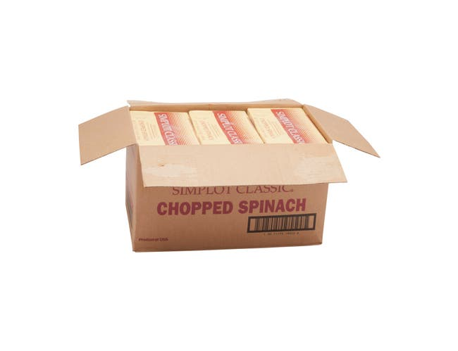 Simplot Leaf Spinach - 3 lb. package - 12 packages per case