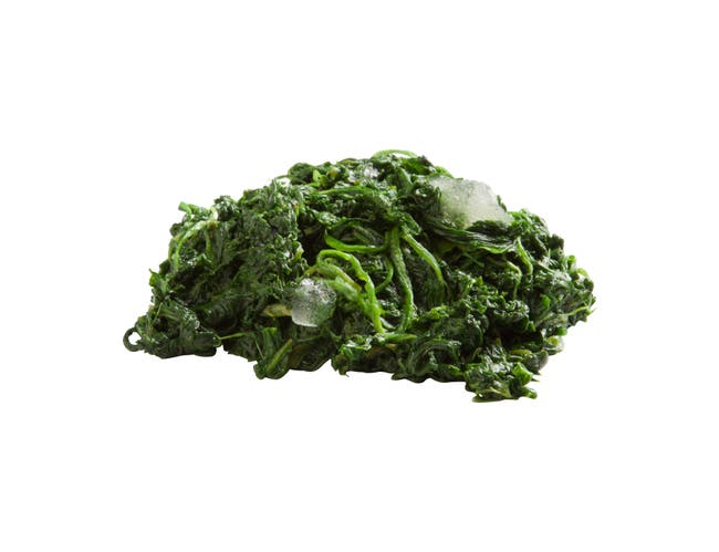 Simplot Chopped Spinach - 3 lb. package,  12 packages per case