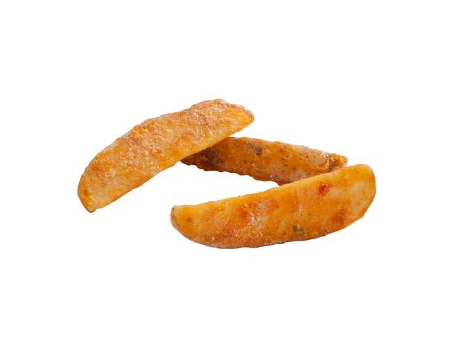Simplot Batter Crisp Seasoned Fiesta Wedge 10 Cut Potato French Fry, 5 Pound -- 6 per case.