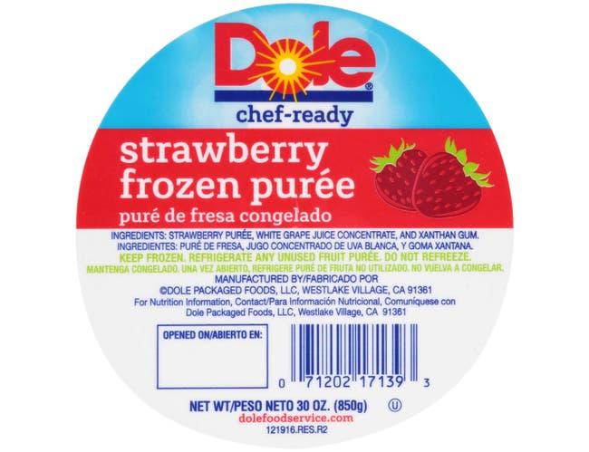 Dole Strawberry Puree, 30 Ounce -- 8 per case.