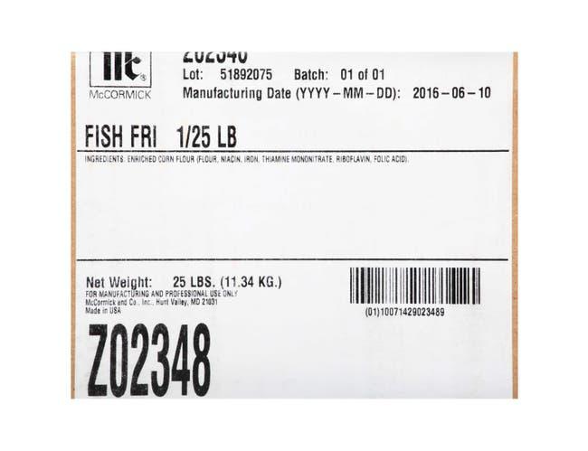 Zatarain`s Regular Fish Fry, 25 lbs. -- 1 per case