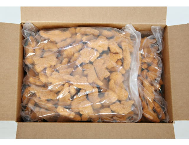 Perdue Farms Fully Cooked Breaded Dino Shaped Chicken Breast Nuggets, 5 Pound Bag -- 2 per case.