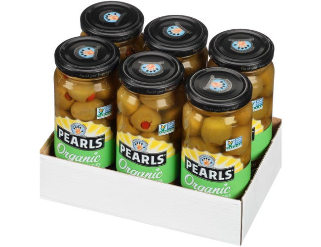 Pearls Organic Red Pepper Stuffed Green Olives, 6.7 Ounce -- 6 per case.