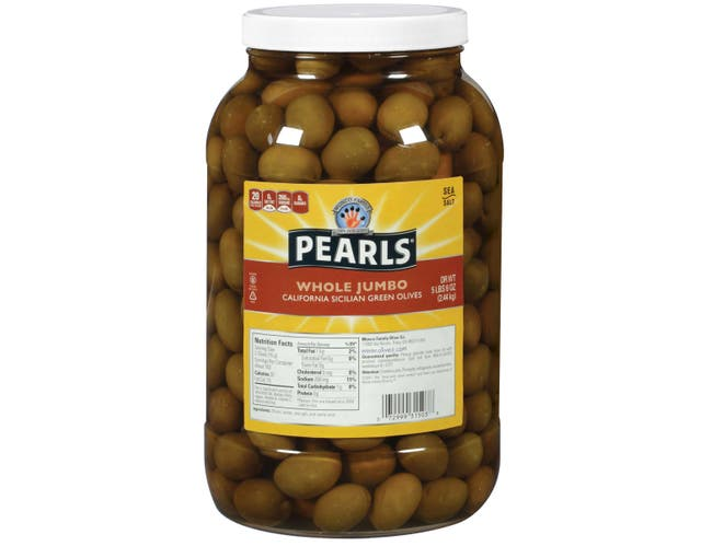 Pearls California Whole Jumbo Green Olives, 86 Ounce -- 4 per case.