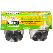 Pearls Italian Herb Infused Ripe Olives, 4.8 Ounce Cup -- 6 per case.