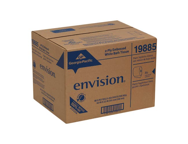 Envision White 2 Ply Standard Embossed Bathroom Tissue Roll -- 80 per case.