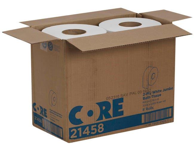 Pacific Blue Jumbo Jr. Epa White 2-Ply Compliant Bathroom Tissue -- 8 per case