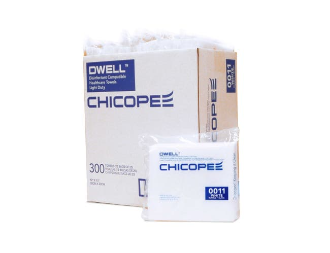 Chicopee Dwell Disinfectant Compatible Healthcare Towel - Light Duty - White -- 300 per case.