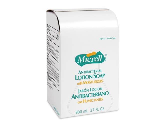 Gojo Micrell Antibacterial Lotion Soap, 27 Fluid Ounce -- 6 per case.