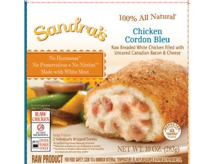 Milford Valley Farms Sandras All Natural Chicken Cordon Bleu, 10 Ounce -- 12 per case.