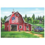 Hoffmaster Patriotic Barn Paper Placemat, 9.75 x 14 inch -- 1000 per case.
